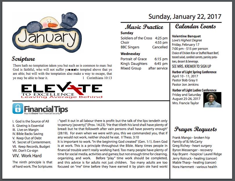 church bulletin examples